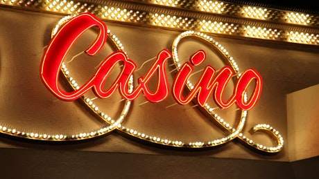 Luminous sign with the word casino