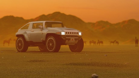 Luxury desert truck, 3D animation
