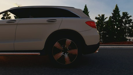Luxury SUV in a road, 3D animation