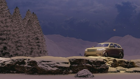 Luxury vehicle in a snowing forest