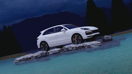Luxury vehicle parked on rocks in a lake
