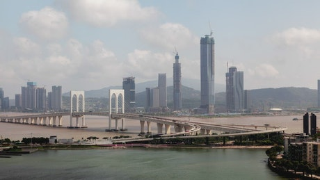 Macao bridge and skyscraper