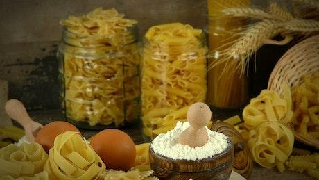 Macaroni and flour, presentation