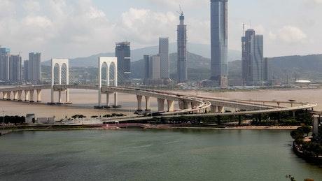 Macau bridge and the city landscape