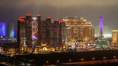 Macau casinos flashing at night