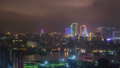 Macau iluminated skyline at night