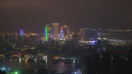 Macau modern cityscape at night