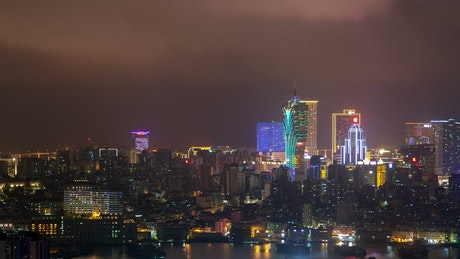 Macau Peninsula cityscape at night