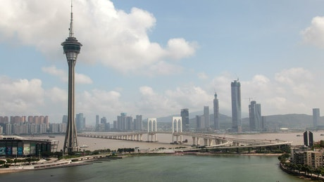 Macau tower and bridge with city in the background
