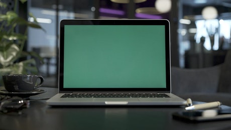 MacBook with a green screen at the office