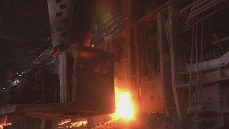 Machine working on a metallurgic factory