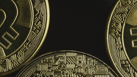 Macro close-up of bitcoin coins
