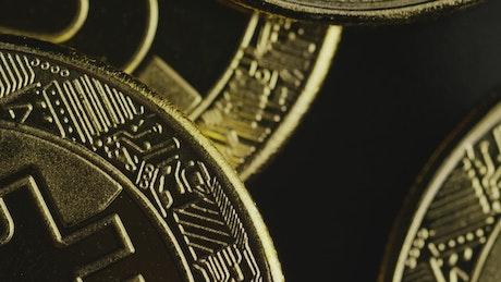 Macro shot of gold and bitcoins