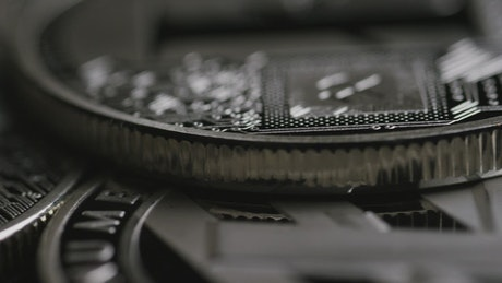 Macro shot of silver coins