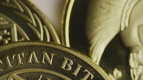 Macro shot of titan bitcoin coins