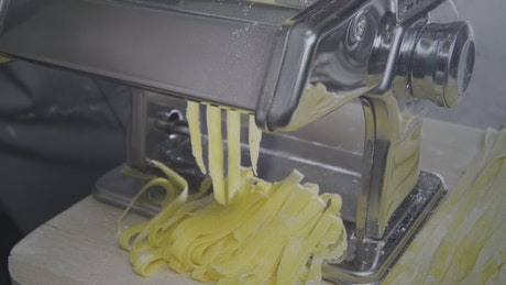 Making pasta with professional equipment