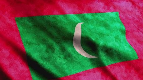 Maldives flag in 3D render animation