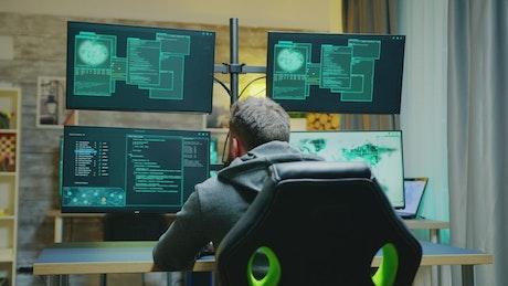 Male hacker being denied access