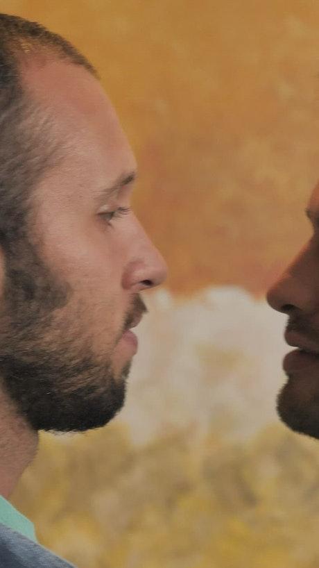 Male LGBTQ couple kissing