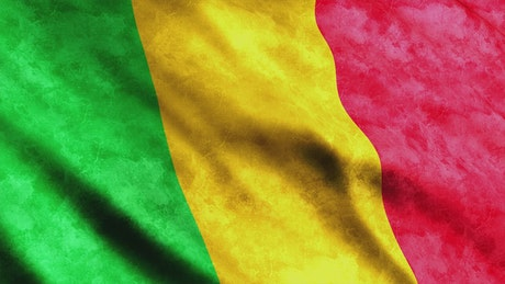 Mali flag from African continent while waving