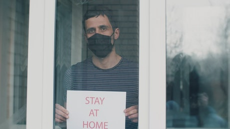 Man asking to stay home for quarantine