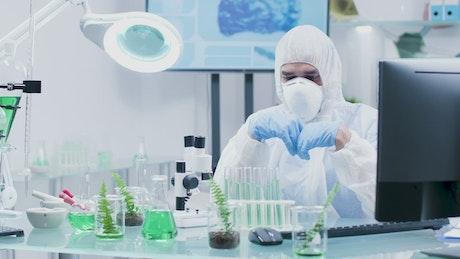 Man checking organic samples
