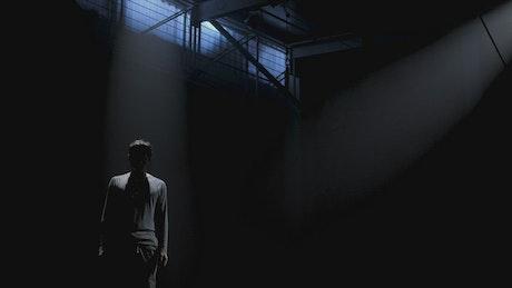 Man dancing in the dark