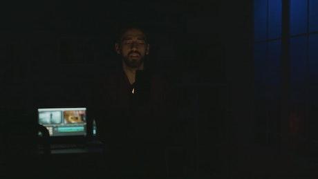 Man demonstrates future mobile app voice commands