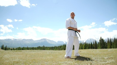 Man demonstrates karate kick in outdoor landscape