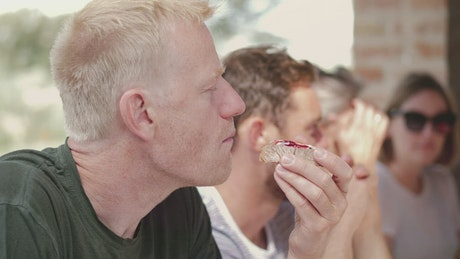 Man eating breakfast toast