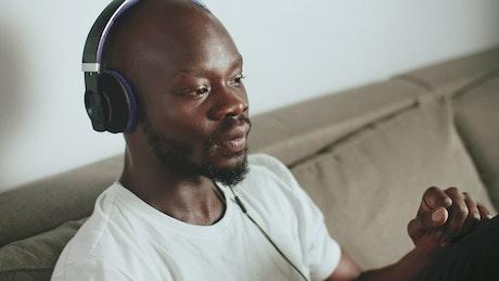 Man enjoying his favorite song