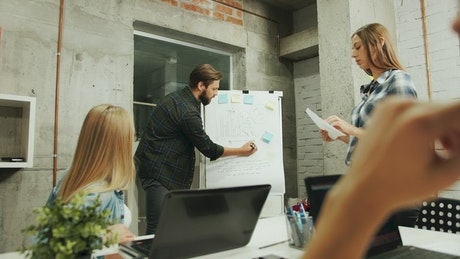 Man explains growth to team with whiteboard