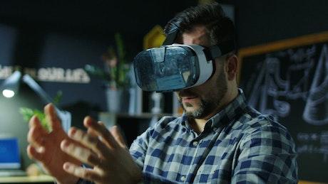 Man exploring virtual reality