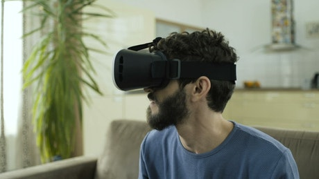Man frightened with virtual reality