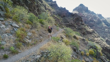 Man hiking in the mountain