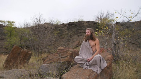 Man in a trance for his meditation