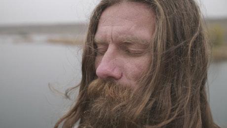 Man in deep meditation