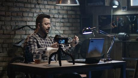 Man making a drone tutorial