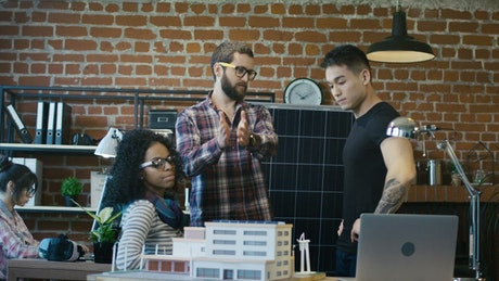 Man presenting alternative energy resources