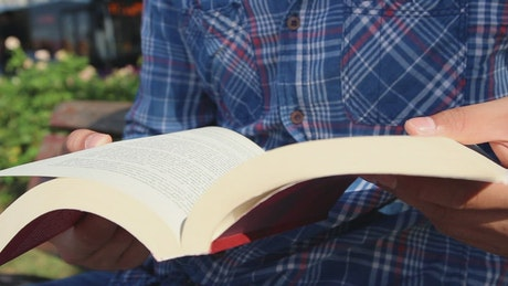 Man reading a book in the sun in a park