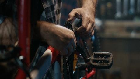 Man repairing a bicycle