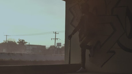 Man silhouette in an abandoned building