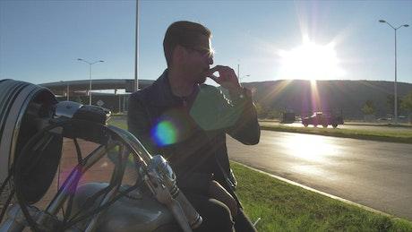 Man sitting on his motorcycle