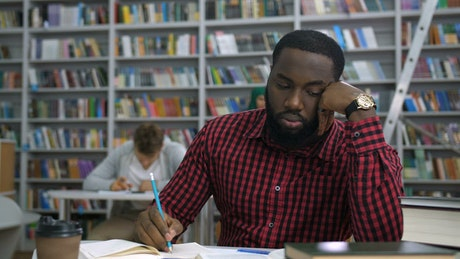 Man stressed during study
