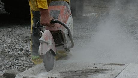 Man using an industrial cutter