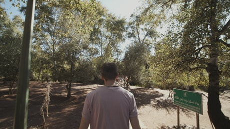 Man walking in a park in Africa, tracking shot
