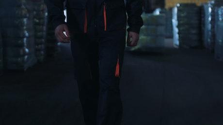 Man walking through the warehouse
