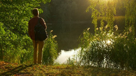 Man watching the sunset on the shore of a lake