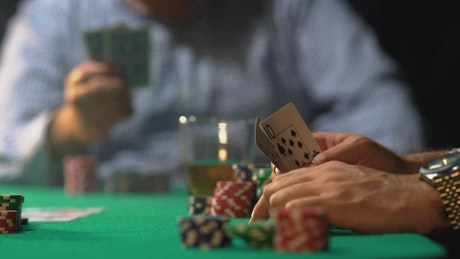 Man winning a poker game