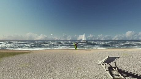 Man with a surfboard on the shore of a beach in 3D